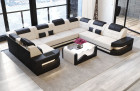 Modern Sectional Sofa with LED lights - Fabric Microfibre Mineva 1