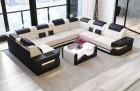 Modern Sectional Sofa with LED lights - Fabric Microfibre Mineva 1
