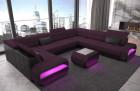 Fabric sofa Seattle U shape with optional coffee table in microfiber fabric Mineva 13 - Lilac