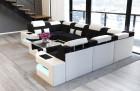 Big Luxury Sofa with LED lights - Structured Fabric black Hugo 13