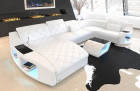 elegant leather living landscape Swing U Form with Recamiere in completely white