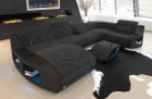 Cushion Couch Palm Beach with USB port and LED lighting in Hugo 12 - black-grey