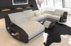 Fabric sofa Palm Beach with ottoman in Hugo 1 - ivory