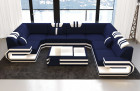 Luxury Sectional Sofa Hollywood with LED and USB with microfibre fabric Mineva 17 - dark blue