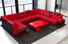 Fabric Design Sofa San Antonio U shape with LED with microfibre fabric Mineva 20 - red