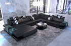 Leather sectional sofa Beverly Hills XXL illuminated black white