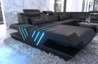 Luxury sectional Sofa Beverly Hills XXL illuminated leather black