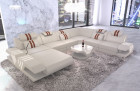 Leather sectional sofa Beverly Hills XXL with Ottoman white
