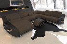 XXL sectional sofa Palm Beach with cup holder and USB in Hugo 8 - brown