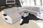 Fabric Couch Palm Beach XXL with LED lighting in Hugo 2 - macchiato