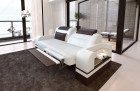 Two-seater sofa Orlando with optional relax function and LED lighting - white dark brown
