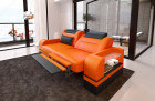 Design leather couch 2 seater Orlando with opt. relax function and LED lighting - orange