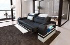 Two-seater couch Orlando with optional relax function and LED lighting - black