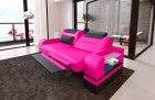 2 seater design couch Orlando with opt. relax function and LED lighting - pink