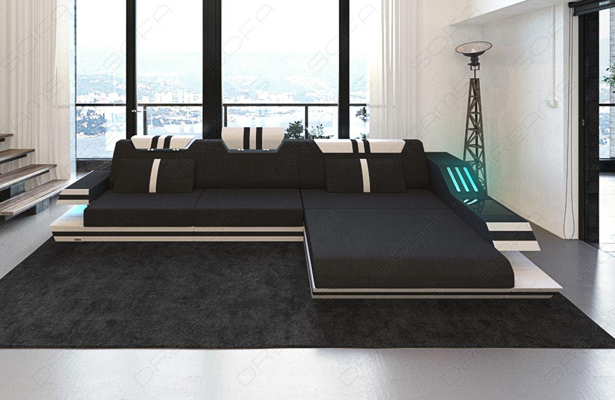 Moderne Sofa i Stof Hollywood L Form   LED Møbler   SofaDreams